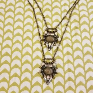 Long Layered Gray Tones Necklace